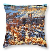 Silent City Snowy Sunrise Throw Pillow