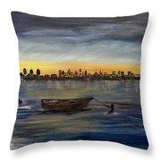 Silent Night At Sea Throw Pillow
