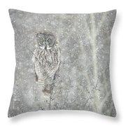 Silent Snowfall Portrait II Throw Pillow