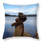 Silent Watch - Inukshuk On Boulder At Long Lake Hiking Trail Throw Pillow