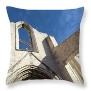 Silent Witness - Carmo Convent Roofless Ruin In Lisbon Portugal Throw Pillow
