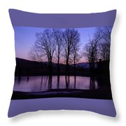 Silhouette At The Pond Throw Pillow