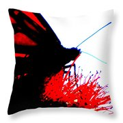 Silhouette Monarch With Red Throw Pillow