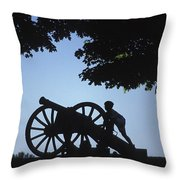 Silhouette Of A Boy And His Father Throw Pillow