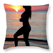 Silhouette Of A Fit Woman  Throw Pillow