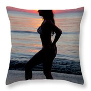 Silhouette Of A Fit Woman In Bikini  Throw Pillow