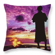 Silhouette Of A Local Man Standing By The Bonfire On The Beach In Maldives During Dramatic Sunset Throw Pillow