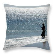 Silhouette Of A Man Fishing Throw Pillow