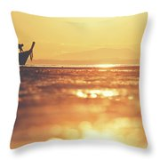 Silhouette Of A Thai Fisherman Wooden Boat Longtail During Beautiful Sunrise Throw Pillow