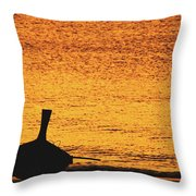 Silhouette Of A Thai Wooden Boat  On The Beach Against Golden Sunset Koh Lanta, Thailand Throw Pillow