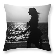 Silhouette Of A Woman Throw Pillow