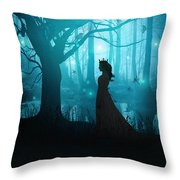 Silhouette Of A Womanin In A Forest At Twilight Throw Pillow