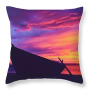 Silhouette Of A Wooden Thai Boat  On The Beach During Beautiful And Dramatic Sunset Throw Pillow