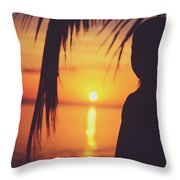 Silhouette Of A Young Boy Watching Beautiful Caribbean Sunset Throw Pillow