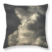 Silhouette Of An Eagle Flying Among Stormy Clouds  Throw Pillow