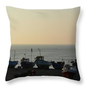 Silhouette Of Boats On Beach  Throw Pillow