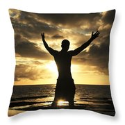 Silhouette Of Fit Man Throw Pillow