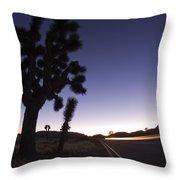 Silhouette Of Joshua Trees Yucca Throw Pillow