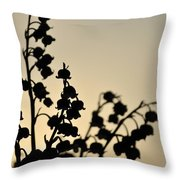 Silhouette Of Lilies Of The Valley 2 Throw Pillow