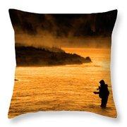 Silhouette Of Man Flyfishing Fishing In River Golden Sunlight Throw Pillow