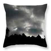 Silhouette Of Man On The Pass Himalayas Yantra.lv Throw Pillow