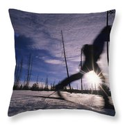 Silhouette Of Of Women Cross County Throw Pillow