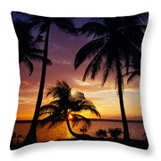 Silhouette Of Palm Tree On The Coast Throw Pillow