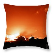 Silhouette Of Rome Against A Sunset Sky Throw Pillow