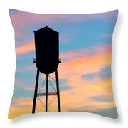 Silhouette Of Small Town Water Tower Throw Pillow
