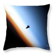 Silhouette Of Space Shuttle Endeavour Throw Pillow