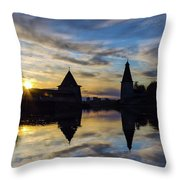 Silhouette Of Stronghold And Sunset. Pskov Kremlin. Russia Throw Pillow