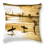 Silhouette Of Surfers At Sunset Throw Pillow