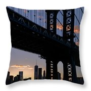 Silhouette Of The Manhattan Bridge Throw Pillow