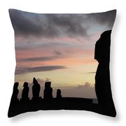 Silhouette Of The Moai Throw Pillow