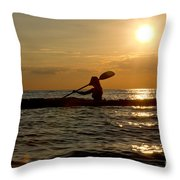 Silhouette Of Woman Kayaking In The Ocean. Throw Pillow