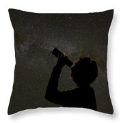 Silhouette Of Woman Looking At Stars Throw Pillow