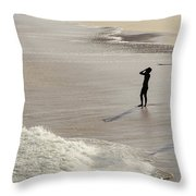 Silhouette On Beach Throw Pillow