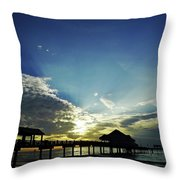 Silhouette Pier 60 Sunset Throw Pillow