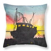 Grounded Shrimp Boat Throw Pillow
