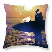 Silhouette Woman On Coast Holding Surfboard At Sunset Throw Pillow