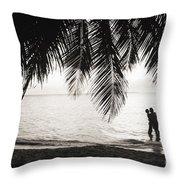 Silhouetted Couple Throw Pillow