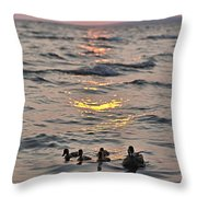 Silhouetted Ducks Throw Pillow