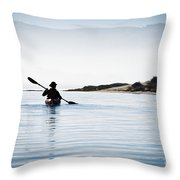 Silhouetted Kayaker In Morro Bay Throw Pillow