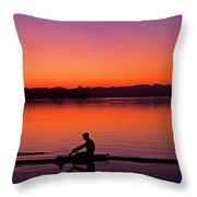 Silhouetted Man Rowing Throw Pillow