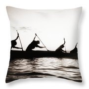 Silhouetted Paddlers Throw Pillow