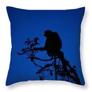 Silhouetted Proboscis Monkey Nasalis Throw Pillow