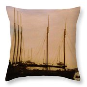 Silhouetted Sailboats Throw Pillow