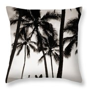 Silhouetted Surfers - Sep Throw Pillow