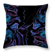 Silhouettes In Black Light. Throw Pillow