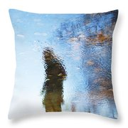 Silhouettes In Blue Sky Throw Pillow